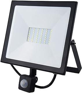 LED投光器 人感センサーライト 50W 昼白色 6000K 500W型相当 PIR 屋外センサー投光器 感応距離5M-10M 点灯持続時間10s-20min 昼/夜モード 調節可能 駐車場 玄関常夜灯 倉庫 庭園 町内に最適 (1個入り)