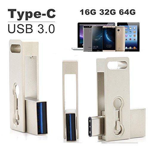SETAYO 32GB USB-C a USB 3.0 Flash Drive Memory Stick con llavero para el MacBook Pro, Samsung Chromebook Además, Nexus 6P 5X, Google píxeles, G5 LG, HTC y Más 10 -Estilo F
