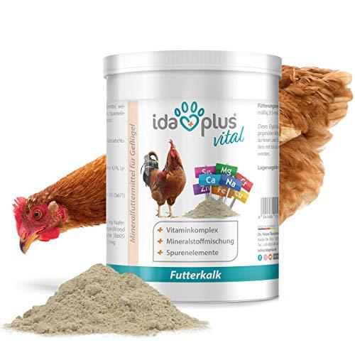 Ida Plus Futterkalk - Zusatzfutter für Hühner - Premium Futterkalk für Hühner - Mineralstoffe für Hühner & Vitaminmischung für Hühner - Rundumversorgung - Futterkalk mit Kalzium für Hühner, 1 kg