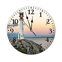 ALUONI Custom Print Wall Clock - Peggys Cove Lighthouse - for Decoration Round Wall Clock, 10 by 10-Inch SW81120