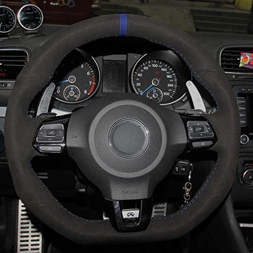 LDSHW Lenkradabdeckung for Black Suede Car Steering Wheel Cover for Volkswagen Golf 6 GTI MK6 VW Polo GTI Scirocco R Passat CC R-Line 2010,Blue