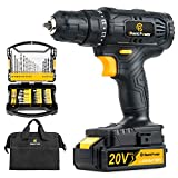 Cordless Drill, 20V Max Lithium-Ion Drill Driver Kit with 2 Variable Speed, 41pcs Accessories, 16+1 Torque Setting, Built-in LED for Drilling Wood, Soft Metal, Plastic, C P CHANTPOWER