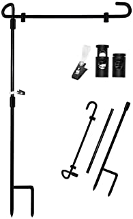 """MAXZONE Garden Flag Stand Banner Flagpole, Black Wrought Iron Yard Garden Flag Pole - Holds Flags up to 15"""" in Width for O..."""