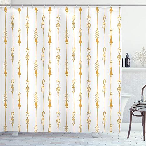 Ambesonne Pfeil-Duschvorhang, handgezeichnetes sich wiederholendes Stickmuster, Vintage-Stamm-Illustration, Kunstdruck, Stoffstoff, Badezimmer-Dekor-Set mit Haken, 178 cm lang, senffweiß