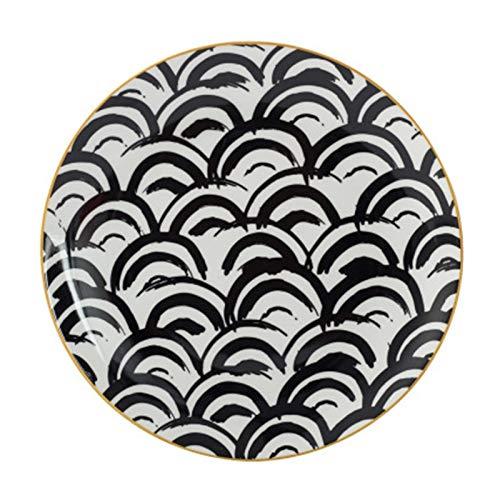 JSJJARD Plato de Cena 6/8 / 10 pulg vajilla Phnom Penh geometría vajilla de cerámica Plato de Porcelana Plato Placa Plato de Postre de la Torta vajilla (Color : A, Plate Size : 10 Inch(25.5cm))