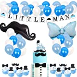 Little Man Baby Shower Decorations Mustache Party Supplies Little Man Banner and Mustache Hat Bow Ties Cake Topper for Birthday Party Decorations