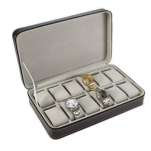 AMAFS Caja de presentación 12 Cabina con Cremallera Caja de Almacenamiento portátil para joyería de Viaje Caja de Almacenamiento de Reloj con Soporte para Almohada