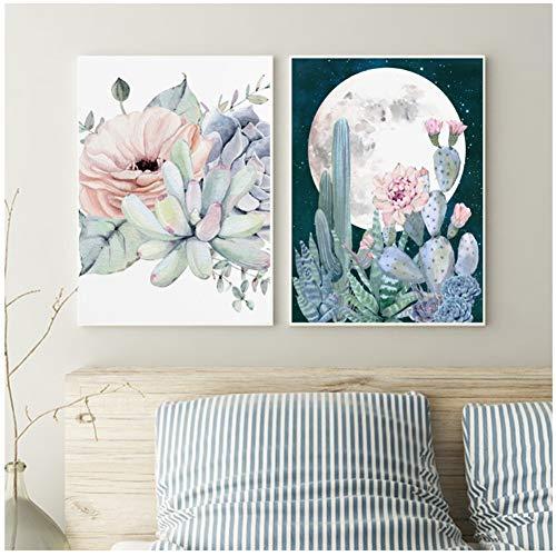 ASLKUYT Bloom Sukkulente Kakteen Poster Blatt Blume Wandkunst Poster und Druck Leinwand Malerei Kaktus Druck Bild Dekor-50x70cmx2 STK. Kein Rahmen