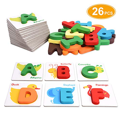 Alphabet Flash Cards, XREXS Toddler ABC Letters Learning Cards, Wooden Alphabet Letters Puzzle Educational Learning Toy for Kids Preschool Kindergarten
