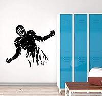 UYEDSRウォールステッカービニール壁アップリケ抽象スポーツフットボール選手ヘルメットステッカーフットボールクラブラウンジウォールステッカー装飾67x57cm