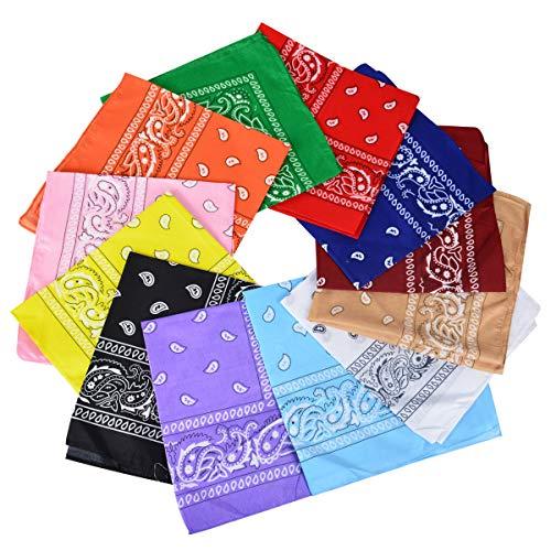 Bleiou 12 Pack Nylon Bandanas for Men and Women Cowboy Bandana Multi-Color Headband Scarf