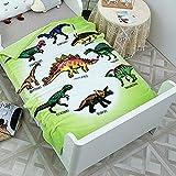 Dinosaur Pattern Fleece Blankets Cartoon Tyrannosaurus Animal Printed Throw Plush Blanket for Kids (55'' x 39'')