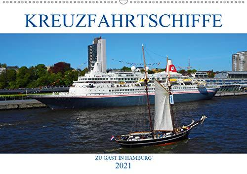 Kreuzfahrtschiffe zu Gast in Hamburg (Wandkalender 2021 DIN A2 quer)