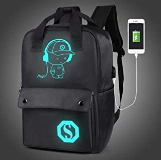Leisure Theft Prevention Backpack,Fashion Men's Backpack Luminous Students School Bags External USB Charge Laptop Backpacks Teenagers Casual Backpacks