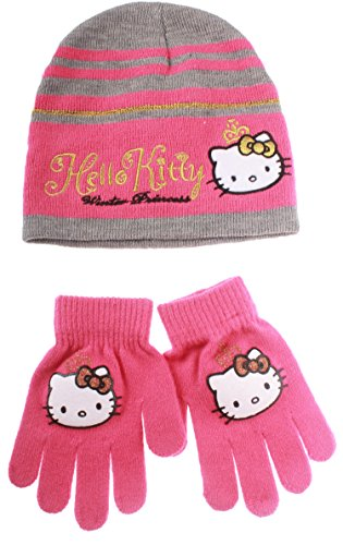 Set bonnet et gants enfant fille Hello kitty 'winter princess' Gris/rose foncé T54