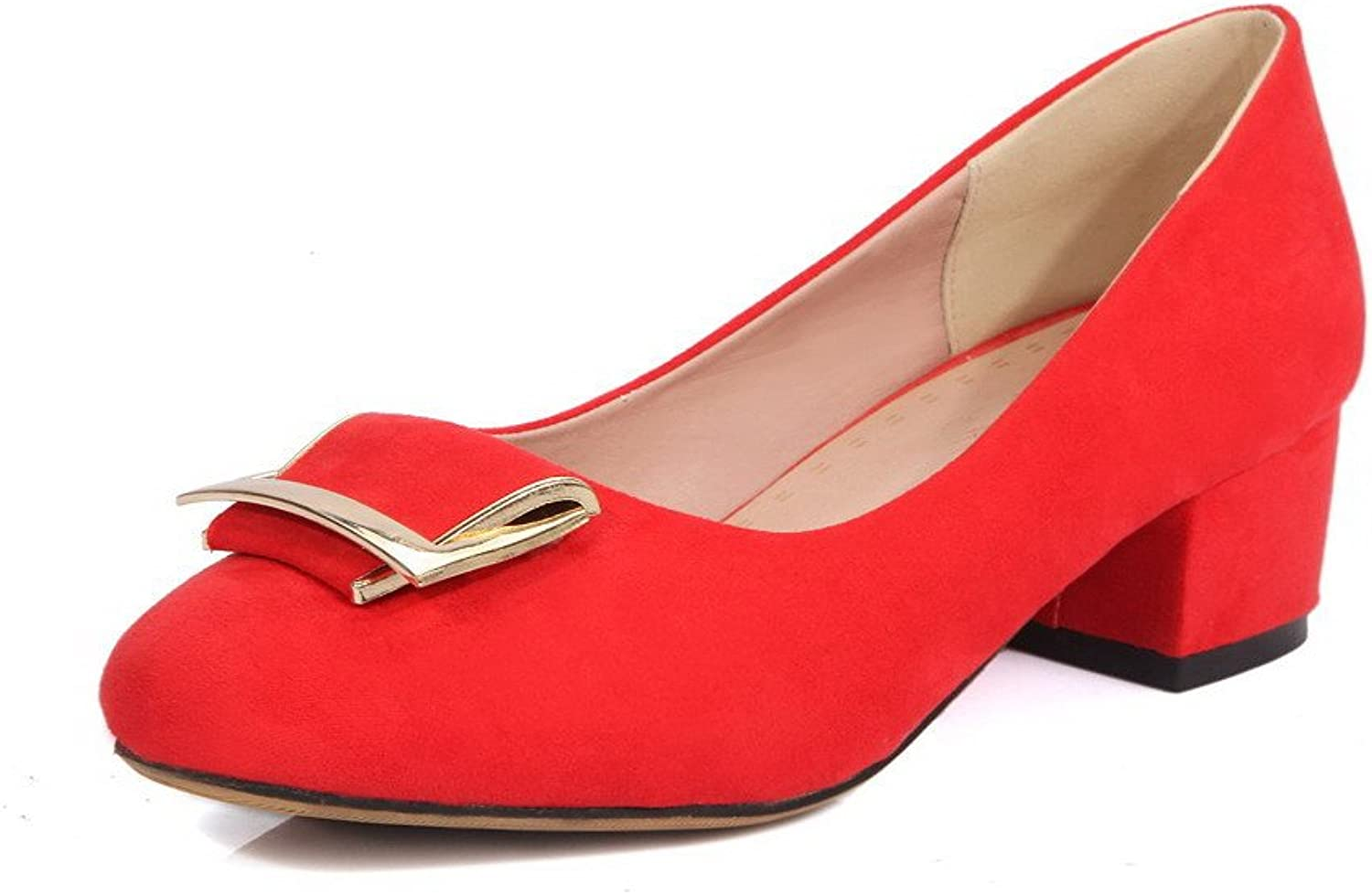 AllhqFashion Women's Solid Imitated Suede Low Heels Square Closed Toe Pull On Pumps-shoes