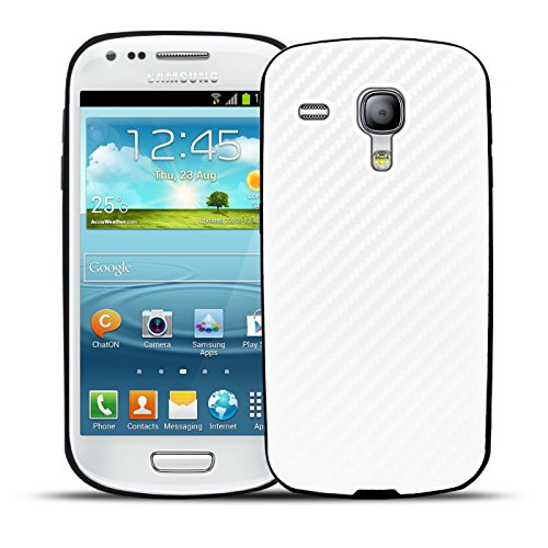 Conie CC33217 Carbon Case Kompatibel mit Samsung Galaxy S3 Mini, Handy Hülle Carbon Design aus Silikon Rückschale rutschfest Displayschutz für Galaxy S3 Mini Cover Carbon Weiss