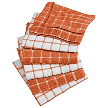 DII Cotton Terry Windowpane Dish Cloths, 12 x 12  Set of 6, Machine Washable and Ultra Absorbent Kitchen Bar Towels-Spice
