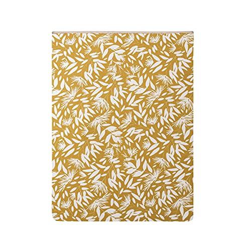 Sábana Plana Estampada de percal de algodón, 180 x 290 cm, Color Ocre