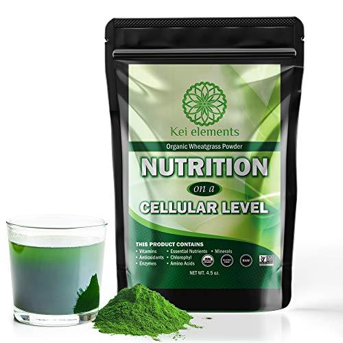 Premium Organic Wheatgrass Powder - Green Superfood Powder Full Of Vitamins, Antioxidants & Other Essential Nutrients - Green Juice Powder - Natural, Non-GMO, Gluten Free, Vegan - 4.5 oz by Kei Elements