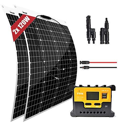 Panneau solaire monocristallin souple de 200 W 12 volts - Ultra léger, mince, pour camping-car, bateau, toit, tentes, système de maison hors réseau,chargeur de batterie 12V 24V