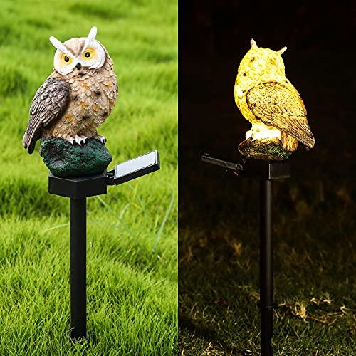 CAMMILE Solar Owl Landscape Light Solar Garden Light Outdoor Decorative Stake Outdoor Figurine Lights Waterproof Landscape Lighting for Lawn Patio Walkway LED Garden Lights