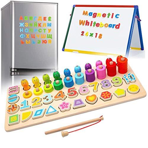 XFDZSW MALL 4 en 1 Puzzle Educa Magnéticos de Madera para Niños Pequeños Juego de Madera Magnéticos para Niños Niños Niños y Niñas