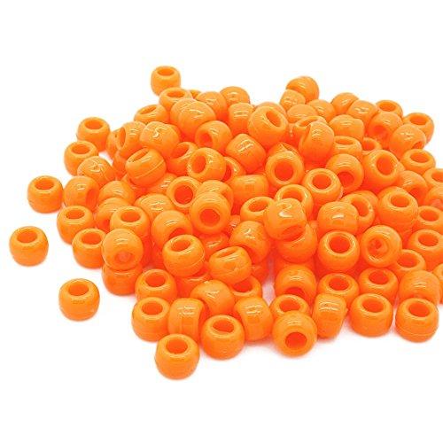 Beads Unlimited blickdichtem Kunststoff Barrel Pony, schwarz, 6X 8mm P, Plastik, Orange, 6 x 8 mm