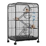 GWELL Cage à rongeurs avec roulettes en métal 61 x 42 x 93 cm