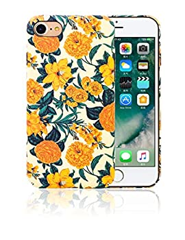 Conisy Floral Pattern Case Compatible with iPhone 7/8 and iPhone SE 2020,Rugged Anti-Scratch Hard Back Phone Cover for Women Girls  Yellow Flower