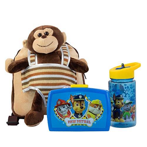 POS – Kinderrugzak met afneembaar pluche dier, multicolor, 24 x 20 x 30 cm, Broodtrommel + drinkfles + kinderrugzak aap…