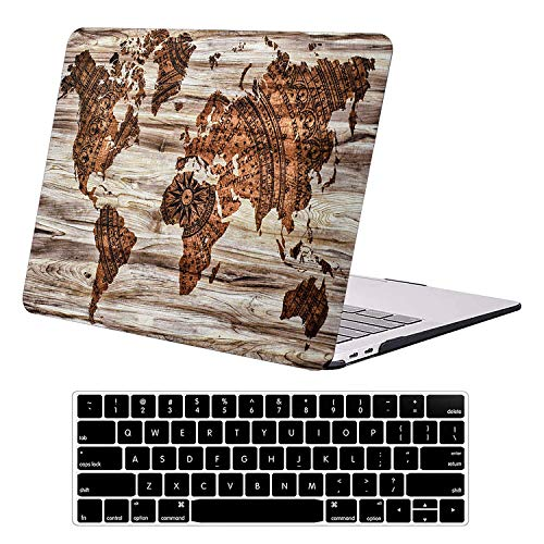 AUSMIX MacBook Air 13 Inch Case A1369 A1466 Old Version 2010-2017 Release, Smooth Ultra-Slim Plastic Hard Shell with Keyboard Cover Antiscratch Protective Cover for MacBook Air 13, Map