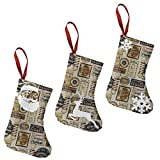 Barber Shop Shave and Haircut Parchmentmulti 7.5' Christmas Stockings 3 Pack Xmas Tree Hanging Decor for Family Holiday