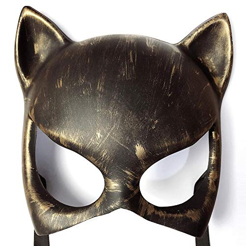 XWYWP Mscaras Halloween Fashion Devil Mask Halloween Cosplay Party Festival Retro Cat Mask Daft Punk Casco Samurai Mscara Steampunk Accesorios Oldgold