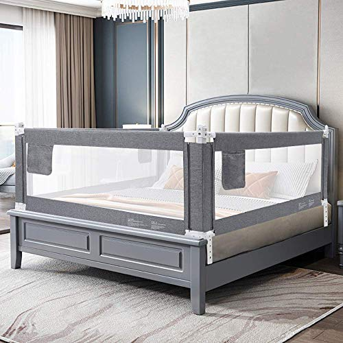 YIKANWEN Bettgitter, 180cm Bettschutzgitter Kinderbettgitter Babybettgitter,passend für Kinderbetten, Elternbetten und Alle Matratzen Massivholzbetten
