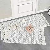 hi-home Juego de 2 alfombras de algodón estilo bohemio con borlas, lavables, estilo retro, para salón, dormitorio, puerta de entrada, cocina, 60 x 90 cm + 60 x 130 cm (gris)