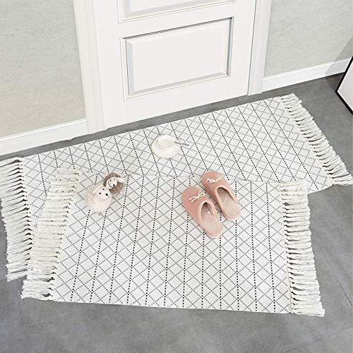 hi-home Lot de 2 tapis en coton - Style bohème - Avec pompons - Lavable - Rétro - Pour salon, chambre à coucher, porte d