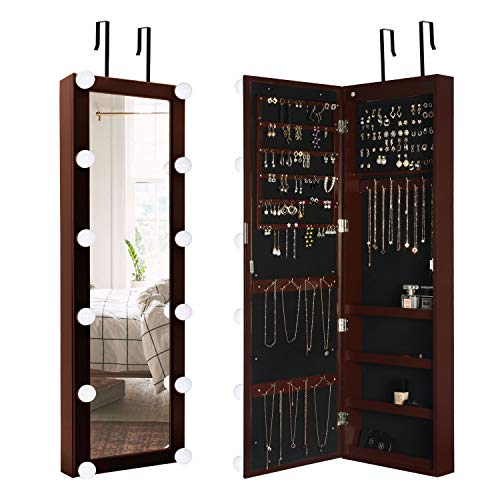 Hollywood Style Wall Door Mounted Armoire Organizer w Dimmable Light Bulbs storage Jewelry Cabinet w Full-Length Mirror Espresso