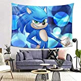Lawenp Manta decorativaSpeed of Hero Sonic Wall Decoration Tapestry Exclusive Wall Hanging Multi Purpose 80x60 Inches Horizontal Wall Backdrop Blankets for Living Room Bedroom