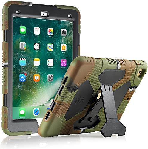 ACEGUARDER iPad Air 2 Case/iPad 9.7 Case 2018 iPad 6th Generation Case / 2017 iPad 5th Generation Case for Kids, Shockproof Cover with Adjustable Kickstand-Army/Black