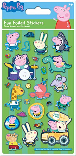 Paper Projects 01.70.06.154 Peppa and George Pig - Pegatinas reutilizables (19,5 x 9,5 cm), color verde