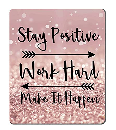 Amcove Gaming Mouse Pad Custom, Stay Positive Work Hard and Make It Happen Inspirational Quotes Mouse pad Art Rose Gold and Silver Glitter Black Quote