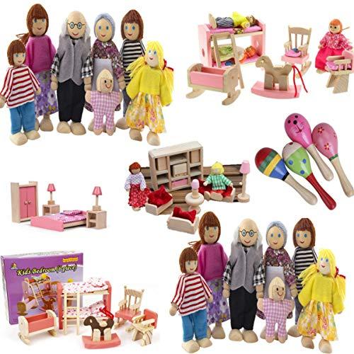 NUOBESTY Juego de Muebles de Casa de Muñecas de Madera para La Familia con Figuras Juego de Juegos de Casa de Muñecas de Madera