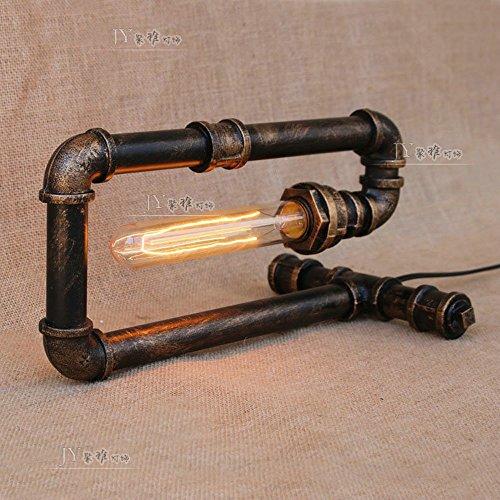 XCH Dazzling DL tafellamp Industrial Vintage smeedijzeren waterpijp tafellampen café bar woonkamer slaapkamer kantoor Bedside Deco bureau lamp, E27 lichtbron (niet inclusief gloeilamp)