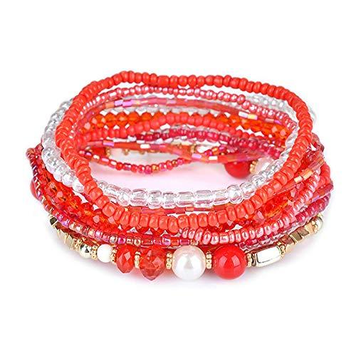 shangwang - Pulsera multicapa roja para mujer, accesorios de joyas, color cristal y perla