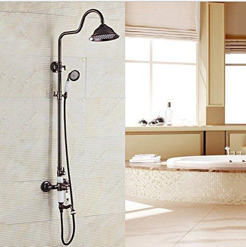 HSDDA Bathroom Rainfall Inicio Baño Todo de Cobre Negro Europeo Antiguo Traje de Ducha de Ducha Elevador baño baño termostato frío Ducha Ducha Cabezal de Ducha Showerhead
