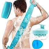 4 in 1 Silicone Bath Body Brush Back Scrubber for Shower,Hair Scalp Massager Shampoo Brush,Silicone Loofah,Silicone Face Cleanser Brush Face Scrubber,Exfoliating Lengthen Silicone Scrubber (4pcs Blue)
