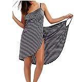 mama stadt Copricostumi e Parei Donna,Estivi Bikini Cover Up Costume da Bagno Gonna Spiaggia Taglie Forti Corto Vestito/3XL Nero