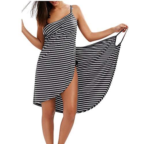Bikini Cover Up Dress Maillot de Bain Paréo Femme Grande Taille Serviette de Plage Robe d'été Courte Jupe de Plage/L Noir