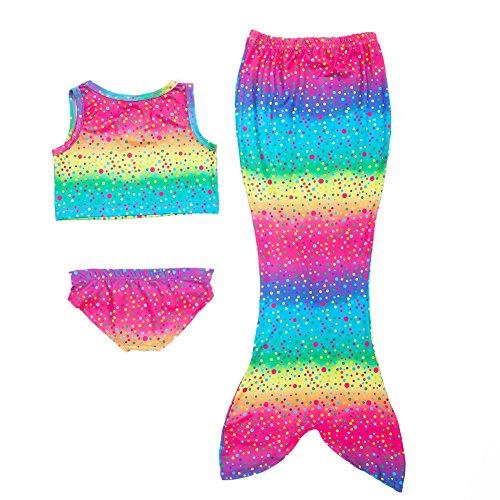 Le SSara Niñas 3pcs Cola De la Sirena del Traje de Baño del Mar-Criada del Bikini del Traje de Baño de la Sirena (4-5 años,A-Rainbow)